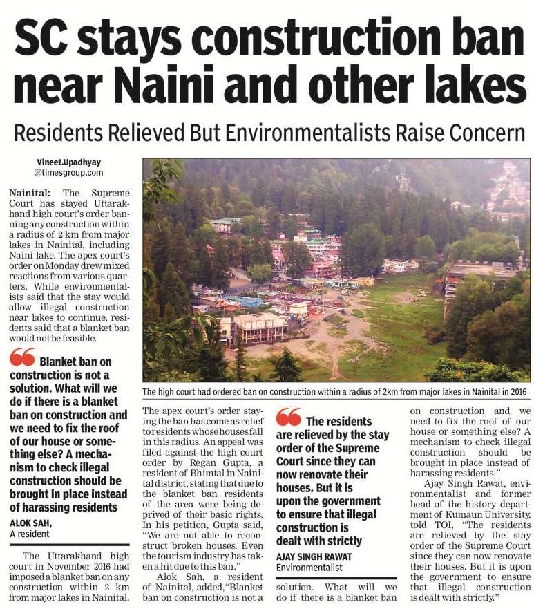 sc-stays-construction-ban-near-naini-and-other-lakes nainital uttarakhand